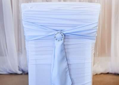 Calgary Wedding Decor- Baby Blue chair sash