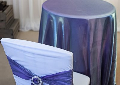 Calgary Wedding Decor- Purple shimmer overlay and chair sash