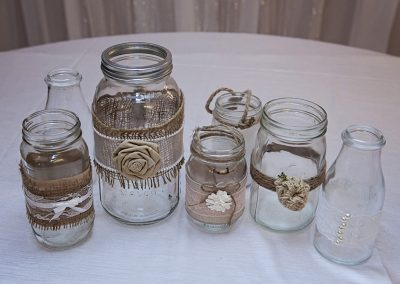 Calgary Wedding Decor Rustic mason jars- Centrepieces