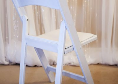 Calgary Wedding Decor- White resin Padded Chair