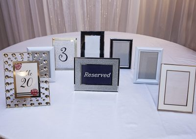 Calgary Wedding Decor picture frames for Centre Pieces