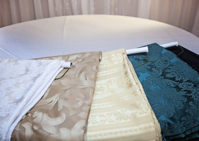 Calgaryh Wedding Decor- Patterened Table cloths