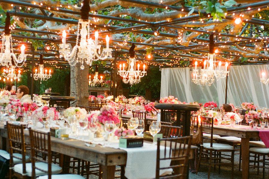 hot-pink-wedding-reception-table-outdoor-chandeliers.original