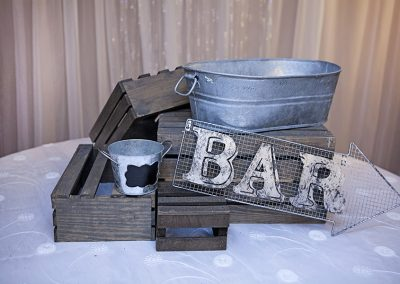 Calgary Weddign Decor- Rustic accents- crates- candybar
