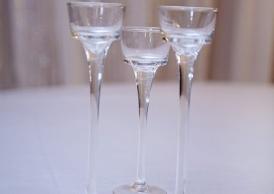 Calgary Wedding Centre Pieces Glass high top votives