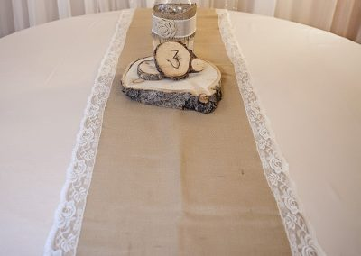 Calgary Wedding Decor- Burlap and Lace Table runner